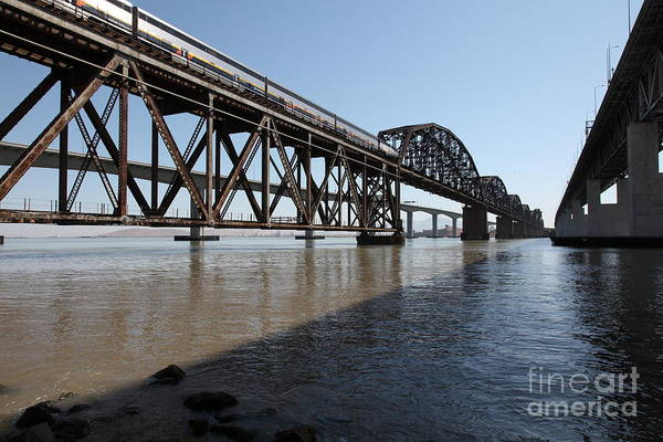 Carquinez Bridge Wall Art - Photograph - Amtrak Train Riding Atop The Benicia-martinez Train Bridge In California - 5d18830 by Wingsdomain Art and Photography