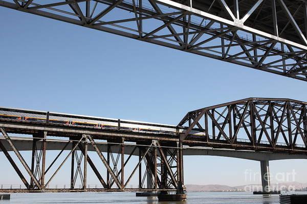 Carquinez Bridge Wall Art - Photograph - Amtrak Train Riding Atop The Benicia-martinez Train Bridge In California - 5d18835 by Wingsdomain Art and Photography