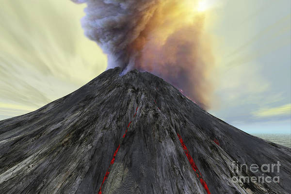 Ashes Digital Art - An Active Volcano Belches Smoke And Ash by Corey Ford