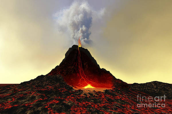 Ashes Digital Art - An Active Volcano Spews Out Hot Red by Corey Ford
