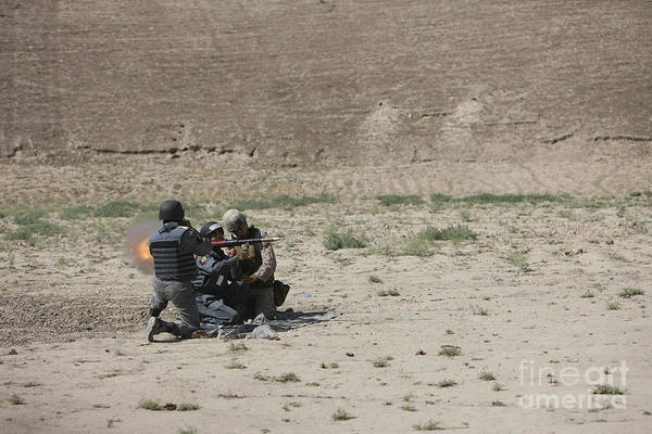 Grenade Launcher Wall Art - Photograph - An Afghan Police Studen Fires by Terry Moore