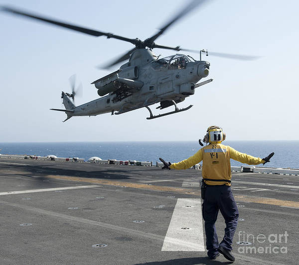 Flight Deck Photograph - An Ah-1z Cobra Helicopter Takes by Stocktrek Images