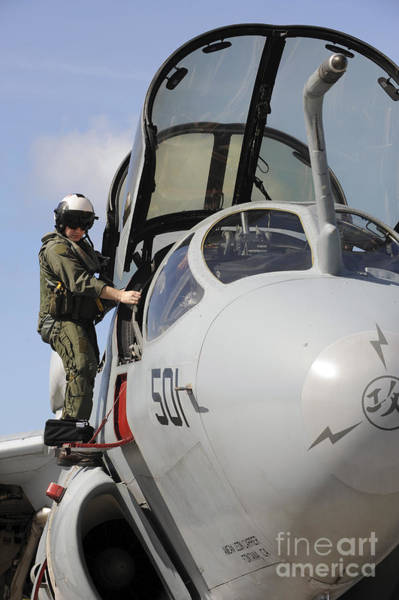 Prowler Photograph - An Airman Makes A Final Look Over An by Stocktrek Images
