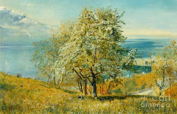Lake Geneva Wall Art - Painting - An Alpine Lake by John William Inchbold