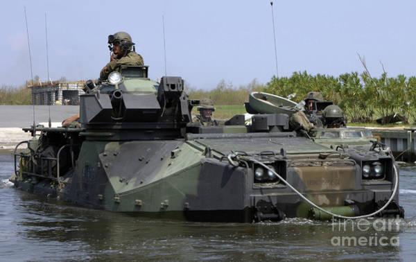 Aav Photograph - An Amphibious Assault Vehicle Enters by Stocktrek Images