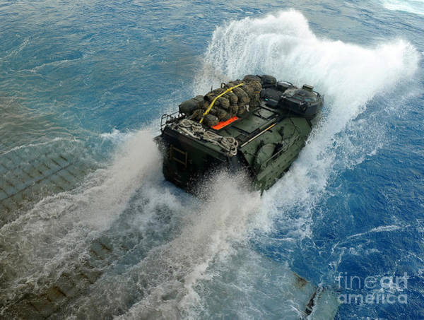 Amphibious Assault Ship Wall Art - Photograph - An Amphibious Assault Vehicle Exits by Stocktrek Images