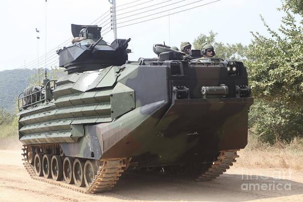 Aav Photograph - An Amphibious Assault Vehicle Roars by Stocktrek Images