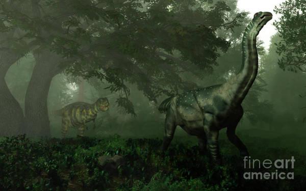 Paleobotany Digital Art - An Antarctosaurus Stalked by Walter Myers