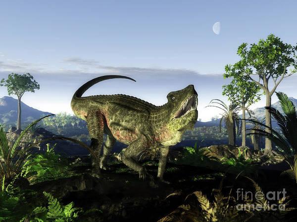 Paleobotany Digital Art - An Archosaur Of The Genus Postosuchus by Walter Myers