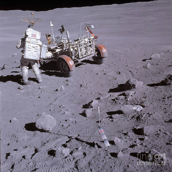 Photograph - An Astronaut And A Lunar Roving Vehicle by Stocktrek Images