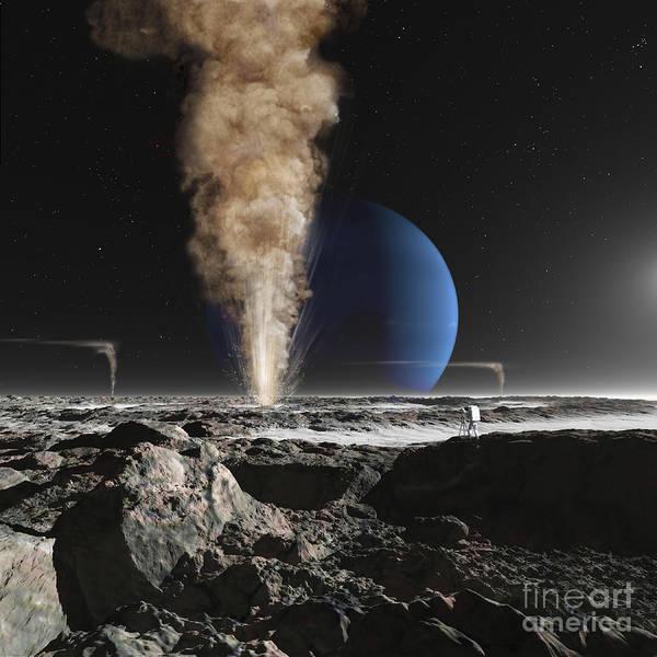 Color Burst Digital Art - An Astronaut Observes The Eruption by Ron Miller