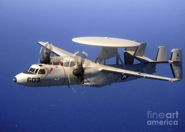 Photograph - An E-2c Hawkeye Flying Over The Pacific by Stocktrek Images