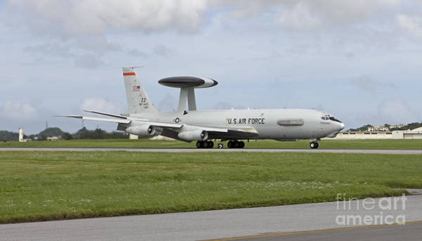 Airbase Photograph - An E-3 Awacs Comes Into Land At Kadena by HIGH-G Productions