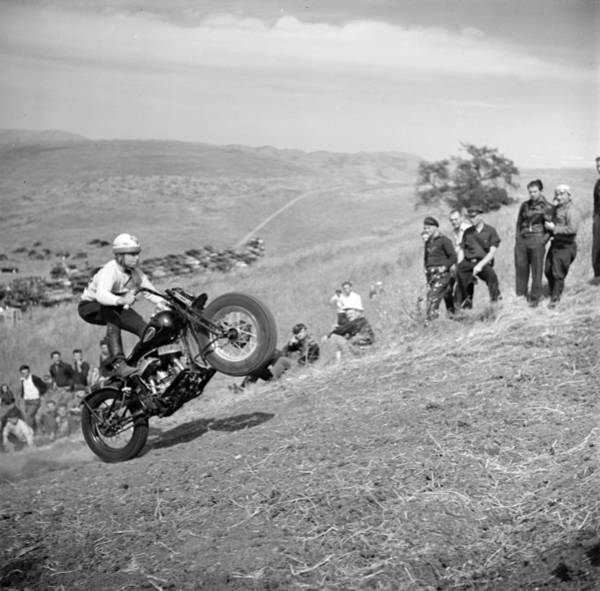 Dirt Bike Photograph - An Early Motorcycle Club Watches by Everett