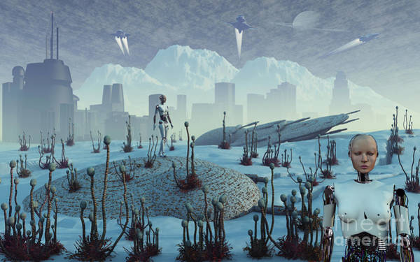 Ice Plant Digital Art - An Earth Colony On An Alien Moon That by Mark Stevenson