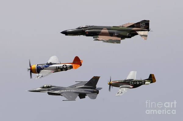 Photograph - An F-4 Phantom, P-47 Thunderbolt, F-16 by Stocktrek Images