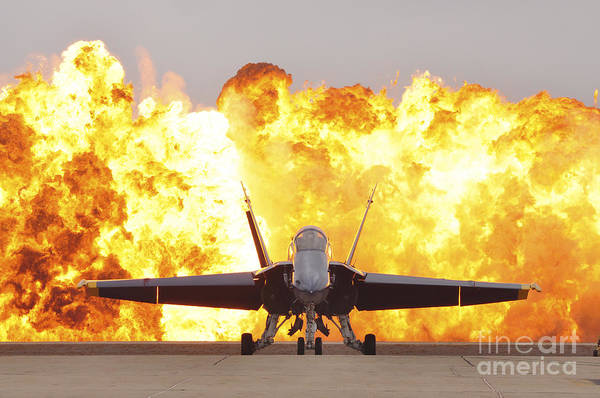 Photograph - An Fa-18 Hornet Sits On The Flight Line by Stocktrek Images