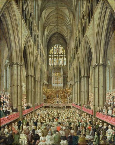 Westminster Painting - An Interior View Of Westminster Abbey On The Commemoration Of Handel's Centenary by Edward Edwards