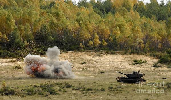 Photograph - An M60 Patton Tank Explodes by Stocktrek Images