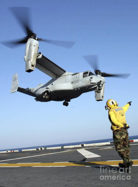 Mv-22 Photograph - An Mv-22 Osprey Launches From The Uss by Stocktrek Images