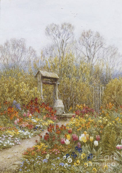 Exterior Painting - An Old Well Brook Surrey by Helen Allingham