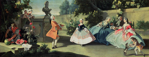 Elegant Dog Painting - An Ornamental Garden With A Young Girl Dancing To A Fiddle by Filippo Falciatore