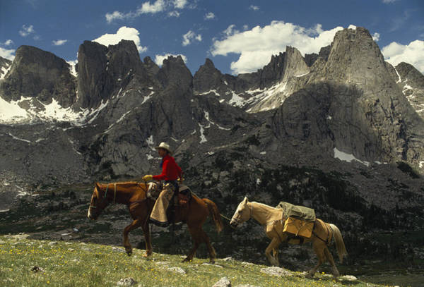 Wind River Range Wall Art - Photograph - An Outfitter Leads A Pack Trip by Raymond Gehman