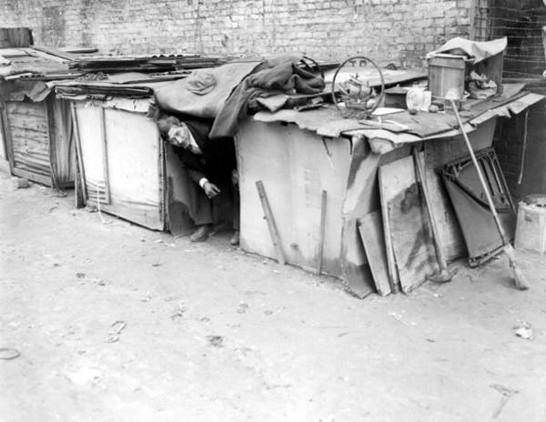 Financial Crisis Photograph - An Unemployed Man Living In A Shack by Everett