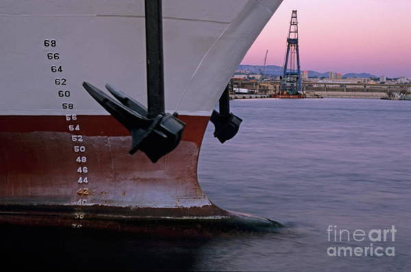 Wall Art - Photograph - Anchor And Depth Markers Of A Cargo Ship by Sami Sarkis