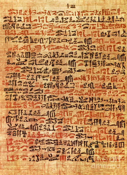 Cursive Photograph - Ancient Egyptian Ebers Medical Papyrus by Science Source