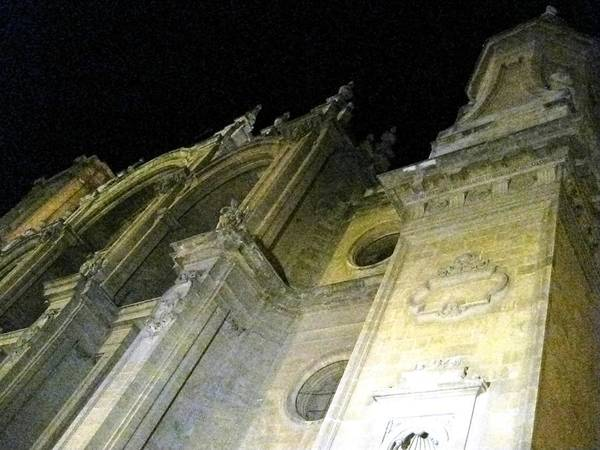 Photograph - Ancient Gothic Cathedral At Night Granada Spain by John Shiron