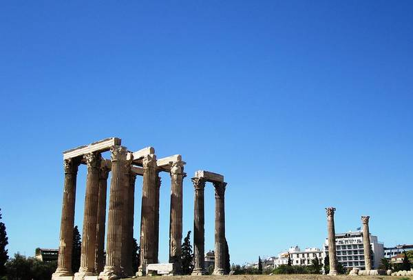 Photograph - Ancient Greek Columns Or Pillars II Standing Tall In Athens Greece by John Shiron