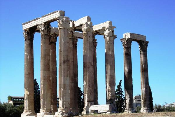 Photograph - Ancient Greek Columns Or Pillars IIi Standing Tall In Athens Greece by John Shiron