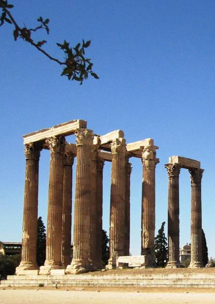 Photograph - Ancient Greek Columns Or Pillars Standing Tall In Athens Greece by John Shiron