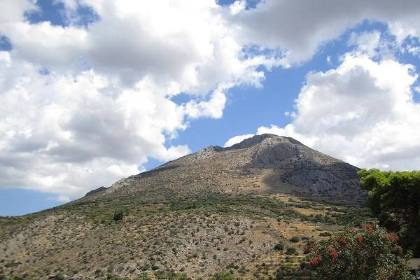 Photograph - Ancient Hilltop IIi Mountain Range With A View And Archeological Remains In Mycenae Greece by John Shiron