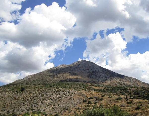 Photograph - Ancient Hilltop Iv Mountain Range With A View And Archeological Remains In Mycenae Greece by John Shiron