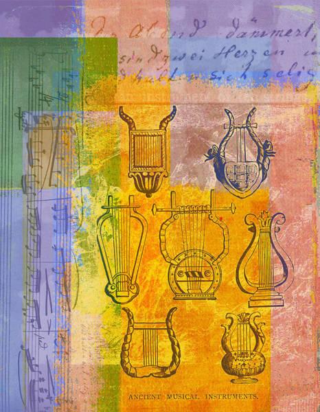 Harp Digital Art - Ancient Musical Instruments by Stephanie Dalton Cowan