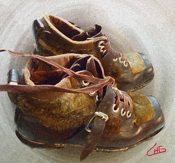 Photograph - Ancient Old Ski Shoes  by Colette V Hera  Guggenheim