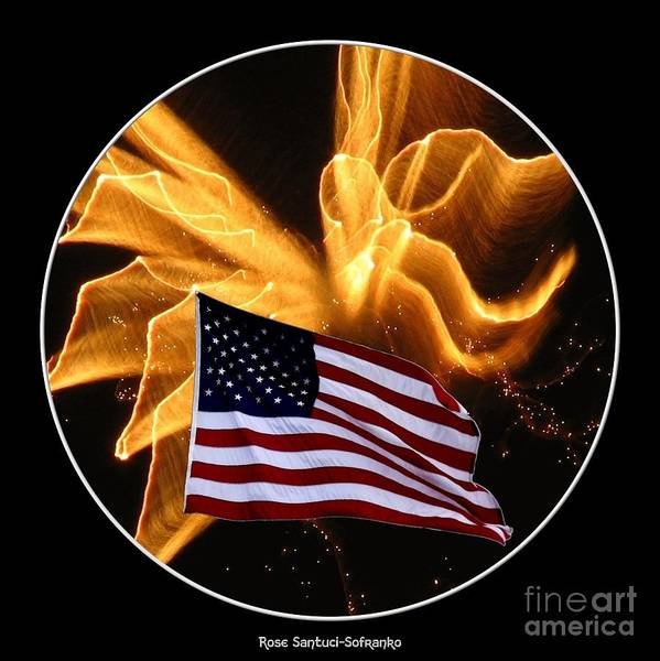 Photograph - Angel Fireworks And American Flag by Rose Santuci-Sofranko