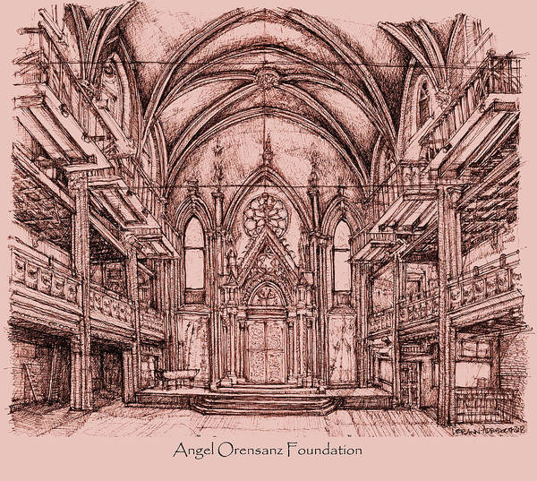 Angel Orensanz Centre In Pink  Art Print
