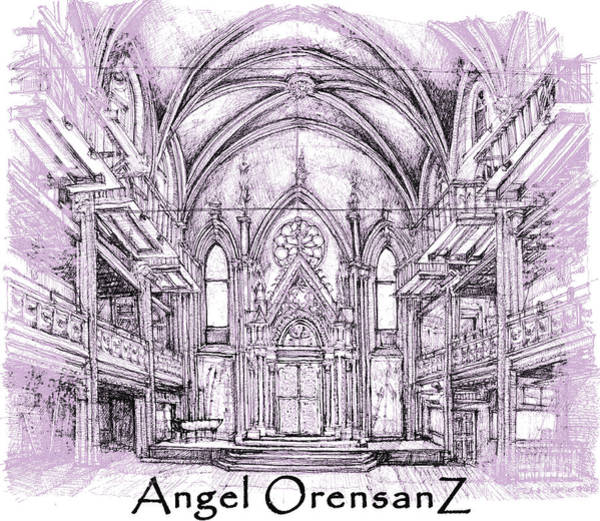 Pink Drawing - Angel Orensanz In Lilac  by Building  Art