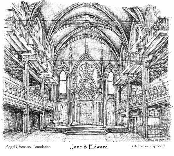 Wedding Invitation Wall Art - Drawing - Angel Orensanz Jane And Edward's Wedding by Building  Art