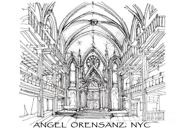 Planner Wall Art - Drawing - Angel Orensanz Sketch With Title by Building  Art
