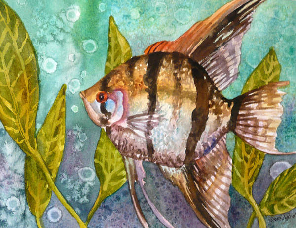 Bubbles Painting - Angelfish by Anne Gifford