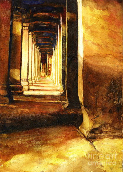World Heritage Site Painting - Angkor Corridor- Cambodia by Ryan Fox