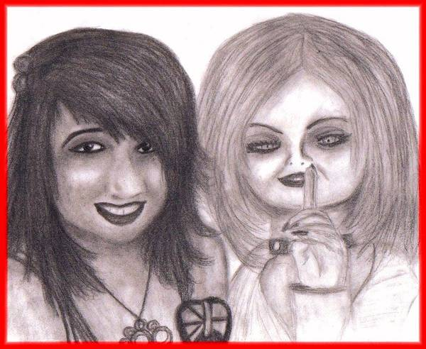 Chucky Wall Art - Drawing - Angy And Tiffany Ray by Nicole  Gervais