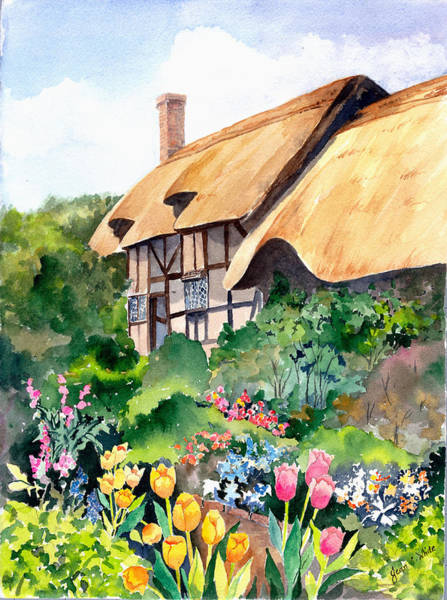 Half Timbered Painting - Anne Hathaway Cottage by Jean Walker White