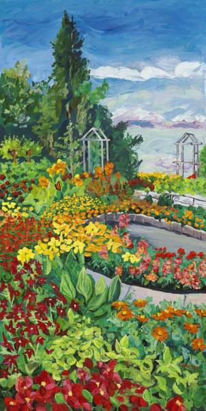 Snapdragons Painting - Annual Garden Viewed From The South by Christina Plichta