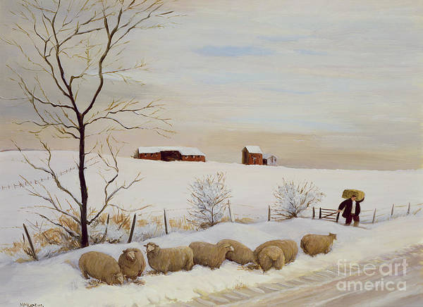 Barn Snow Painting - Another Hard Winter by Margaret Loxton