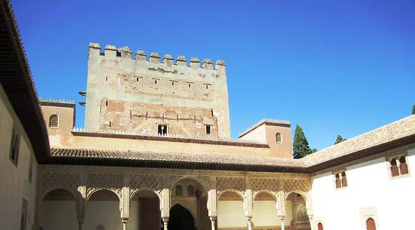 Photograph - Antique Arabic Architecture With Overhanging Columns Granada Spain by John Shiron